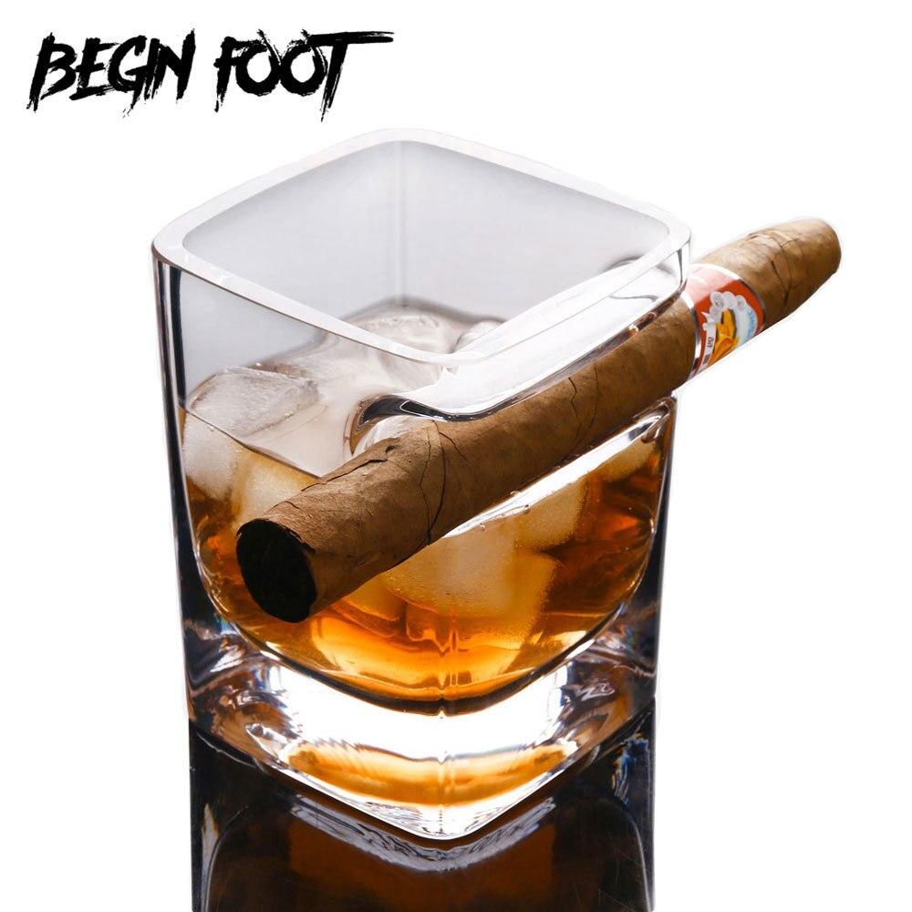 Creative Irrégulière Cadeau Whisky Cigare Cigarette Cristal Bière Vin Liqueur Tasse En Verre Épaississement Lunettes Carré Gorgée Tasse Vaso Vidro