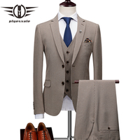 Plyesxale Classic Men Suits For Wedding Elegant 3 Piece Men's Formal Suits Set Grey Khaki Gentleman Mens Dress Suits 2018 Q1