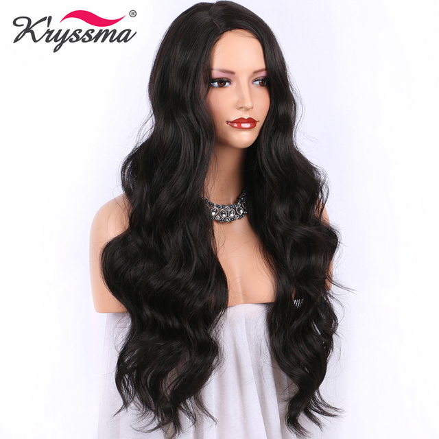 Long Wavy Wig Darkest Brown Synthetic Wig #2 Color Full Machine Made Wigs for Women 24Inch 130 Density Right Part Heat OK Fiber