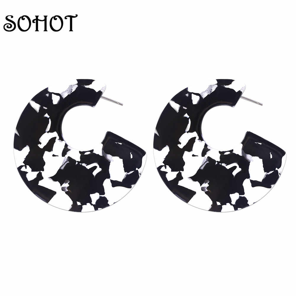 SOHOT 2018 New Women C Shape Acrylic Hoop Earrings Trendy Brand Ethnic Temperament Jewelry Bijoux For Christmas Day Gift
