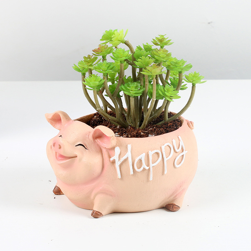 Image 3 - NEW Creative Resin Flower Pot for the Mascot of the Year of the Pig in 2019 planters for succulents succulents pots gift ideas-in Flower Pots & Planters from Home & Garden