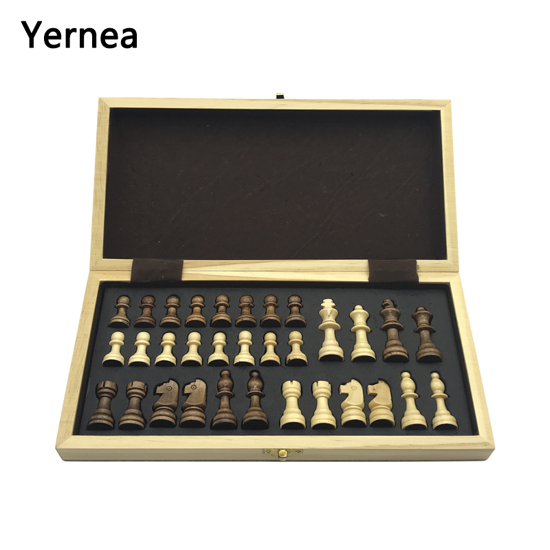 Yernea Chess Set Wooden Wooden Checker Board Solid Wood Pieces Folding Chess Board High-end Puzzle Chess Game