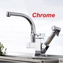 Uythner Chrome Смеситель Для Кухни Латунь Pull Out Опрыскиватель Сосуд Бар Раковина Кран Одной Ручкой Смеситель Кран