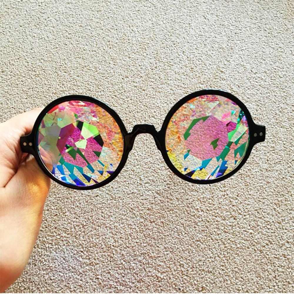 9c1a035a12 ... Round Kaleidoscope Glasses Women rave festival Sunglasses Holographic  Glasses Colorful Celebrity Party Eyewear Hiking Eyeglasses
