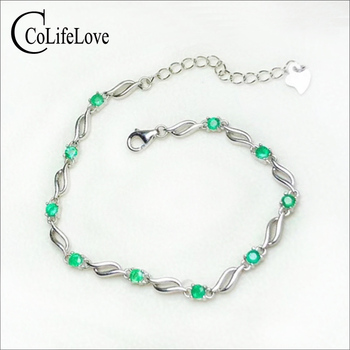 CoLife Jewlery Elegant Emerald Bracelet for Young Girl 2.8mm Round Natural Emerald Silver Bracelet 925 Silver Emerald Jewelry