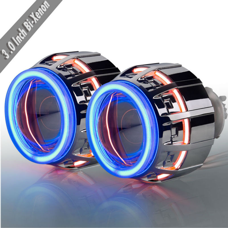 Double ring BI xenon projector lens with CCFL Angel + Devil eyes with h1 h4 h7 9005 9006 and double bi-xenon h4 2pcs 20w 4led hb3 9005 hb4 9006 h10 bulb car fog light car headlights lamp bulbs white 6000k dc12v 24v