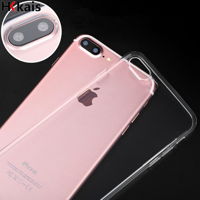 hkkais for apple iphone 6 7 case slim crystal clear tpu silicone protective coque for iphone 7 4
