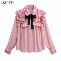LXMSTH 2018 Spring Women Chiffon Blouse Long Sleeve Plus Size Ruffles Tops Sweet Bow Ladies Formal