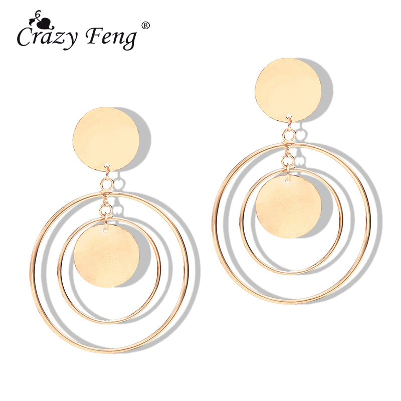 fb41970f9 Detail Feedback Questions about Crazy Feng Geometric Round Circle Earrings  For Women God Color Big Hanging Dangles Pendientes Fashion Drop Earrings  Jewelry ...