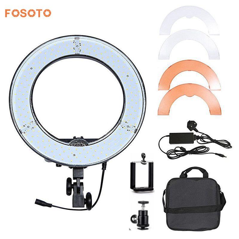 fosoto RL-12 12 180 LED Camera Ring Light Video/Photo/phone Panel Lamp CRI 83+ Color 5500K Dimmable Studio Photography Lighting цена 2016