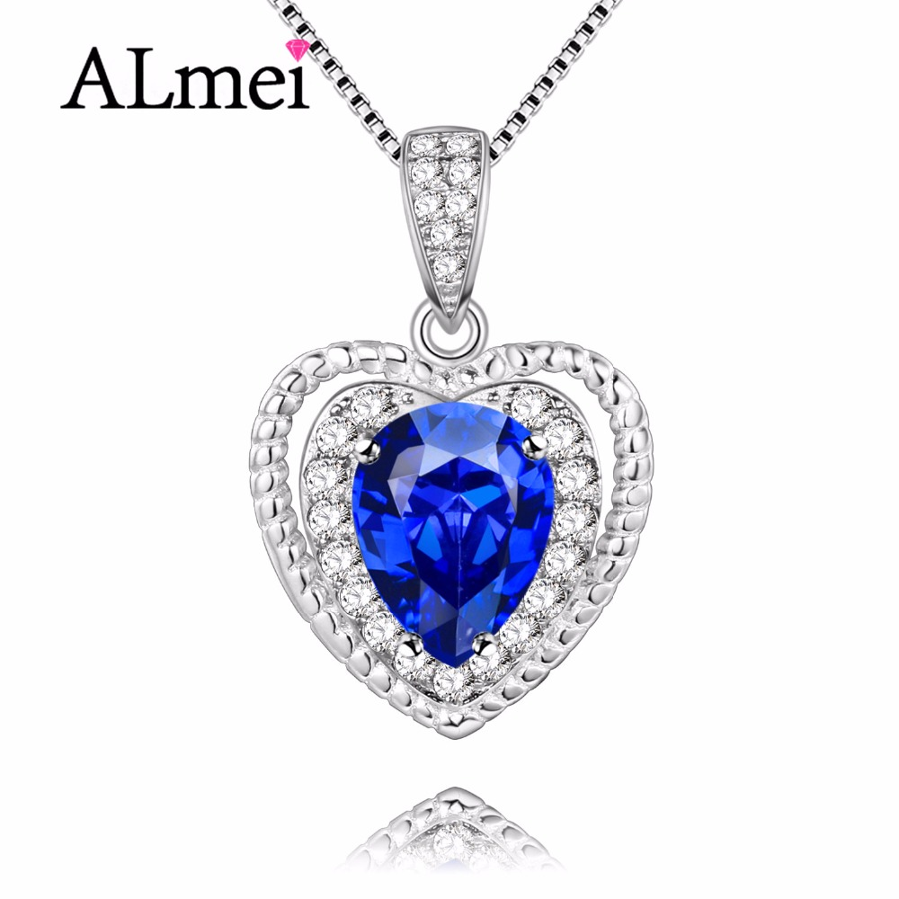 Almei Female 925 Sterling Silver Natural Blue Tanzania Topaz Pendants Heart Love Necklace Jewelry Gift with Chain Box 40% FN010