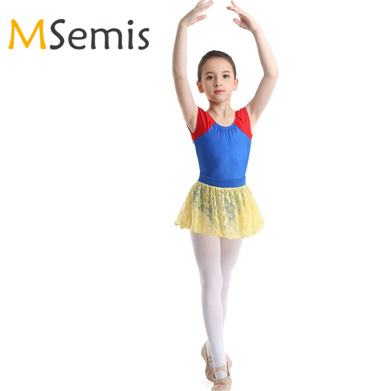 Kids Girls Cap Sleeve Ballet Dance Gymnastics Leotard Dress Dancewear Costume