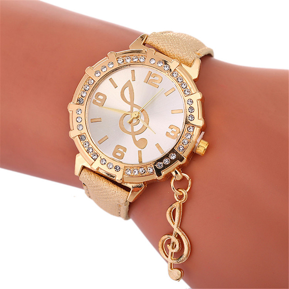 Women Watches Fashion Casual Rhinestone Musical Note Pendant Bracelet Watch Leather Quartz WristWatch Clock Female Montre #B