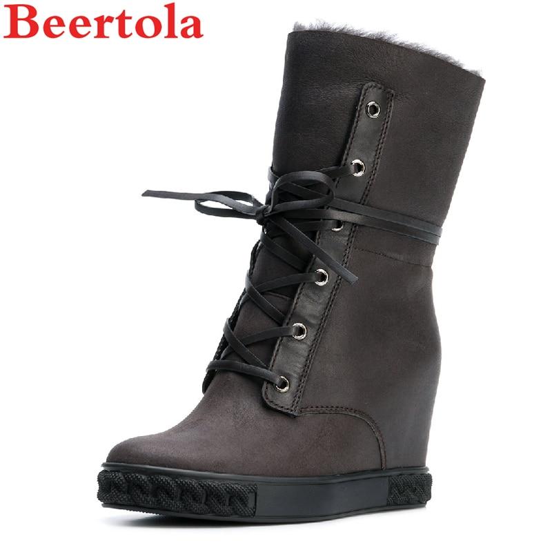 Botas Caliente Picture Del as De Mujer Beertola Dedo Zapatos Cuñas Altura Mujeres Encaje Piel Cordero Invierno As Nieve Picture Las Pie Redondo Aumento 5n7Bwwq14