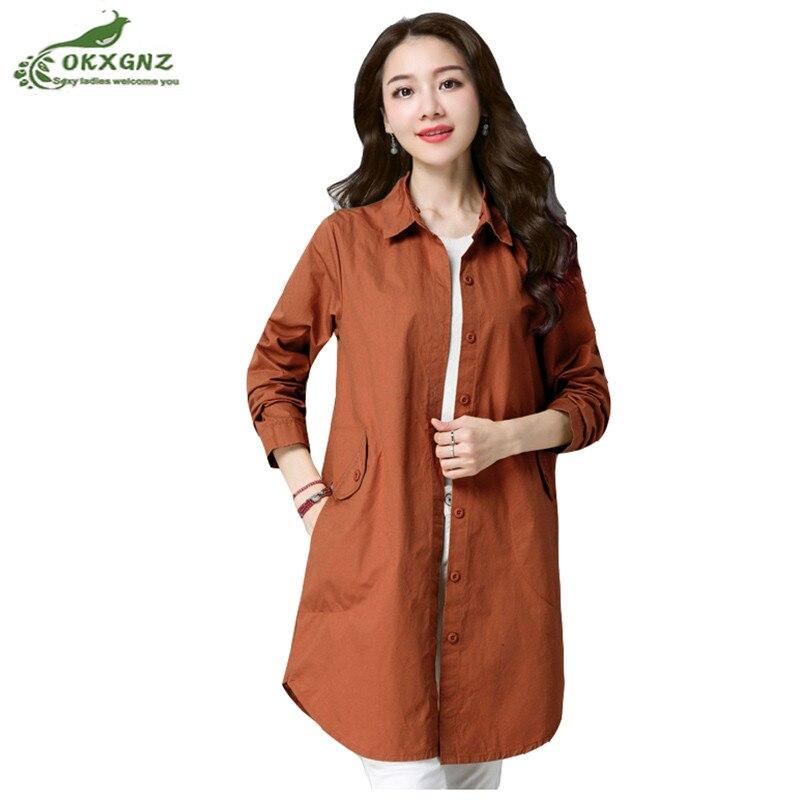 Fine female windbreaker medium long section spring new fashion loose casual solid color cardigan thin hooded jacket women OKXGNZ