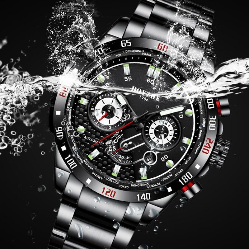 BOYZHE ผู้ชายอัตโนมัตินาฬิกาแฟชั่นแบรนด์หรูนาฬิกาผู้ชายสแตนเลสนาฬิกากันน้ำ Relogio Masculino-ใน นาฬิกาข้อมือใส่เล่นกีฬา จาก นาฬิกาข้อมือ บน   3