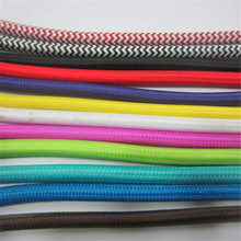 Free shipping Antique Cloth Covered Electrical Cord Vintage Fabric Braid Lamp cable Retro textile Pendant lamp Wire 2*0.75MM