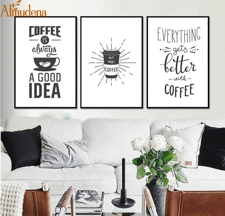 Coffee Quote Wall Art Prints Kitchen Home Decor , Love Coffee Poster ...