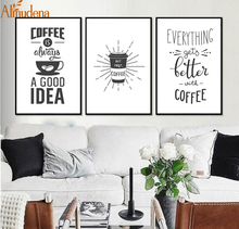 ALMUDENA Minimalist Kitchen Coffee Decorative Pictures on Canvas with No Frame Nordic Decoration Home Room Wall Painting