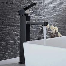 Mitigeur de lavabo de salle de bains noir, mitigeur deau monté sur le pont, Style carré 2 hauteur pour comptoir inférieur et supérieur