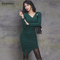 Guyunyi Green pit striped professional office dress female autumn temperament V neck slim irregular knitted dress