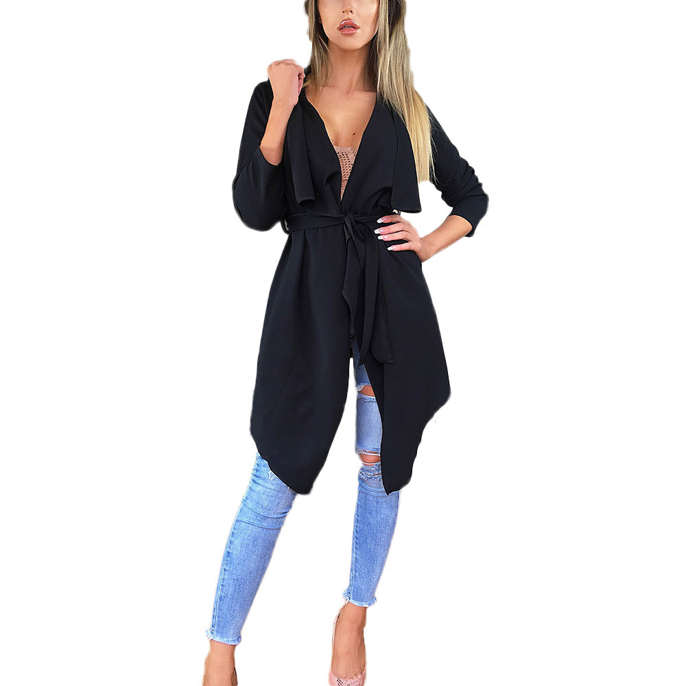 #4 DROPSHIP 2018 NEW HOT Fashion Ladies Women's Loose Solid Irregular Hem With Lapel Coat   Trench   Coat Cardigan Tops Freeship