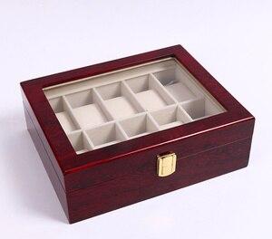 Image 5 - 새로운 나무 시계 디스플레이 박스 케이스 라이트 레드 나무 시계 주최자 홀더 창 스토리지 보석 선물 상자