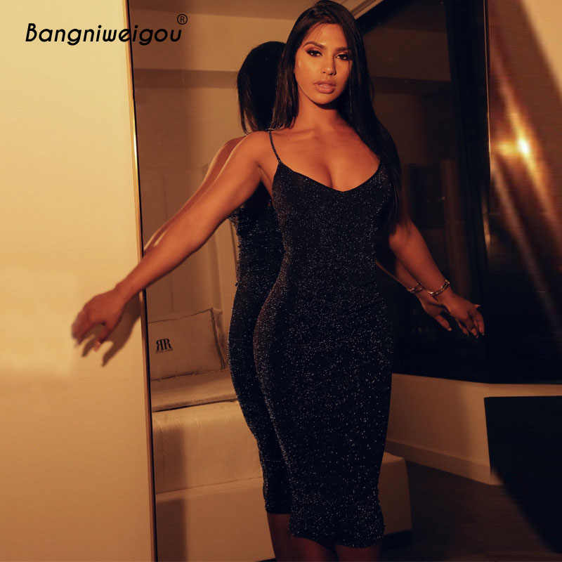 Bangniweigou paillettes réfléchissant noir brillant moulante robe femmes printemps été longue sangle Sexy fête étincelle discothèque Dress2019
