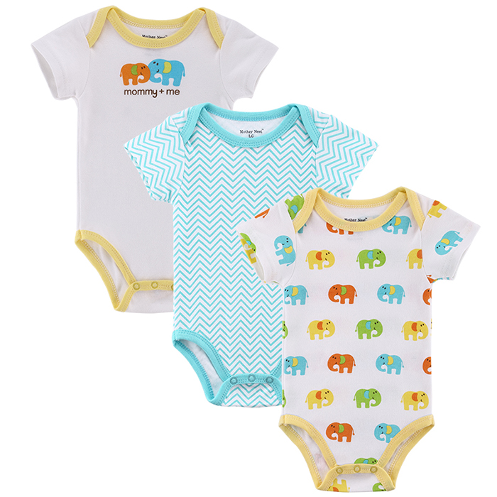 Mother nest 3pcslot Baby Boy Girl Clothes Short Sleeve Leopard Print 2017 Summer Baby Romper Newborn Next Jumpsuits & Rompers (10)