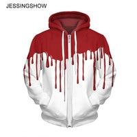 JESSINGSHOW Fashion Women Men Zip Up Fleeces Hoodies Sweatshirt White Red 3D Printed Hooded Long Sleeve Autumn Winter Coat Tops