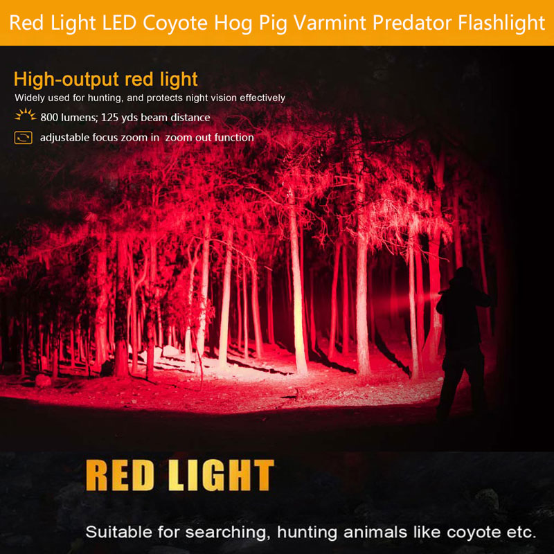 Купить с кэшбэком C8 1 Mode Zoomable LED Hunting Flashlights Red Light Tactical 18650 Flashlights for Outdoor Hunting Torch