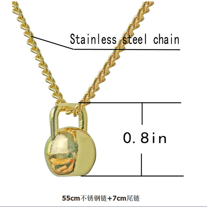 Men Stainless Steel Dumbbell Pendant Necklaces Bodybuilding Charms Barbell Necklace Fashion Fitness Sport Gym Jewelry Free Bag