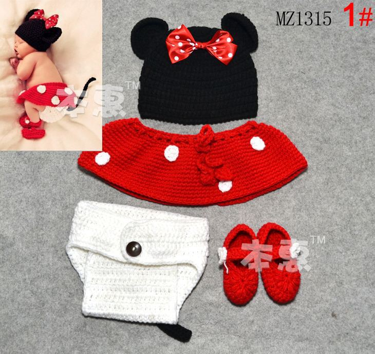 Baby Crochet Mickey Mouse Hat Infant Photo Props Kids Knitted Hats A