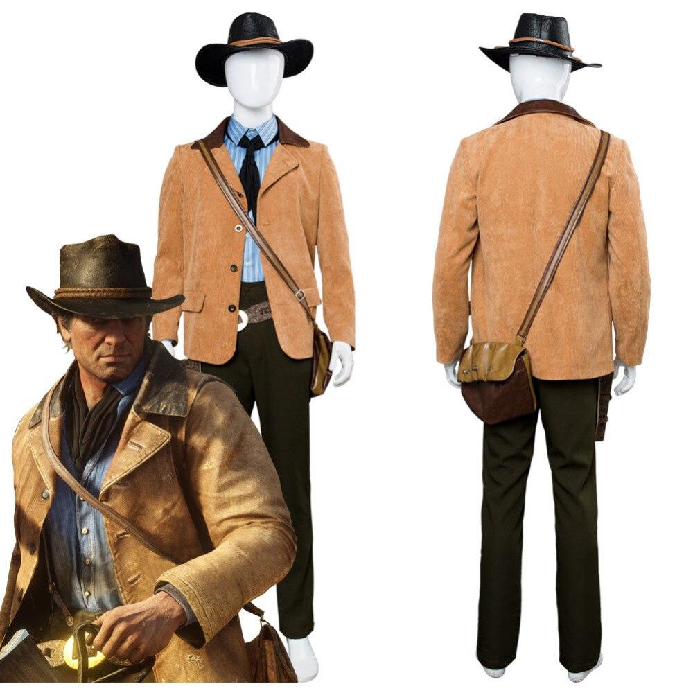 Красный мертвый Redemption II 2 Артура Моргана Косплей Костюм стрелок наряд костюм Хэллоуин Карнавальный Косплей костюмы на заказ