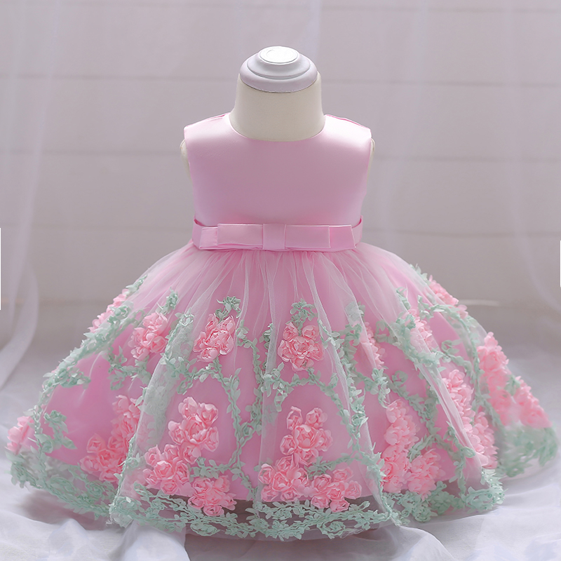 Retail Appliques Beauty Little Princess Summer Baby   Girls   Party Gown   Dress   With Big Bow Baby   Flower     Girls     Dress   Baptism L1845XZ