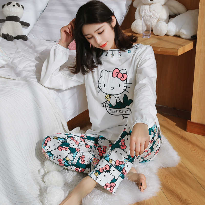 17f6c6e4a1 Female Sping Winter Cotton Pajamas Long Sleeve Sleepwear Hello Kitty Sweet  2 Piece Set Casual Women