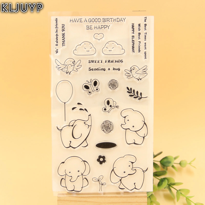KLJUYP Cute Elephants Transparent Clear Silicone Stamp/Seal for DIY scrapbooking/photo album Decorative clear stamp sheets kljuyp cheese transparent clear silicone stamp seal for diy scrapbooking photo album decorative clear stamp sheets