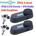 2 set 2016 New Latest Version Bluetooth Motorcycle Helmet Intercom Motorrad Interphone Headset LCD screen FM Radio+Soft Earphone