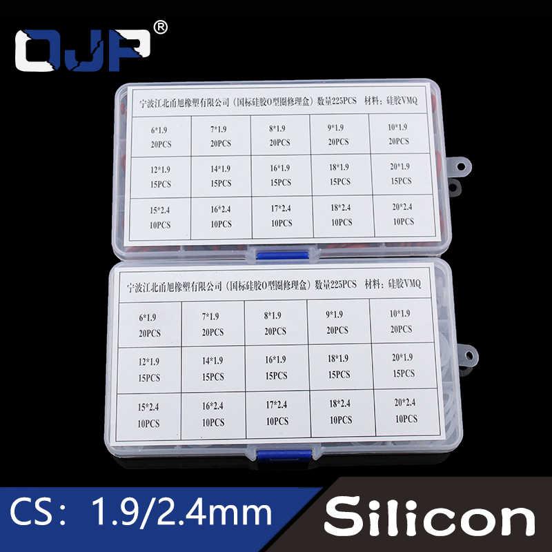 225 Uds O anillo de silicona/silicona 15 tamaños VMQ anillo de silicona o-ring elasticidad sellado o-anillos arandela de lavadora anillo surtido Set Kit caja