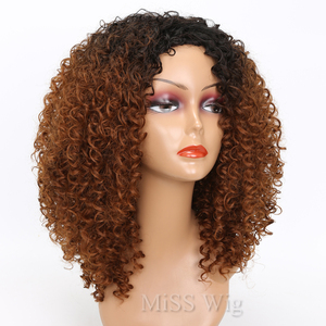 Image 2 - MISS WIG Black Mixed Brown Kinky Curly Wigs For Black Women Afro Wig Synthetic Hair African Hairstyle Hight Temperature Fiber