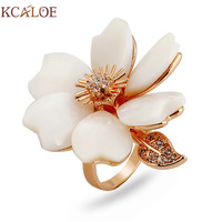 KCALOE Big Shell Flowers Rings For Women Fashion Rose Gold Color Crystal Rhinestone Leaf Wedding Engagement