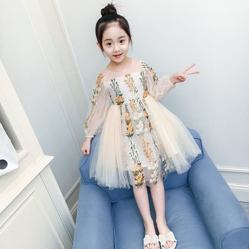 4-15T Princess Autumn Spring Girls Lace Dresses 2018 Long Sleeves Lace Dresses For Girls Birthday Party Kids Cothes Wedding