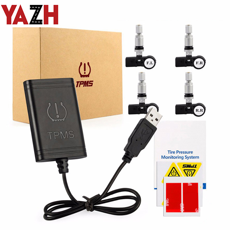 YAZH 2020 new car USB TPMS plug and play tire pressure monitoring system 4 wireless internal sensor version for Android devices