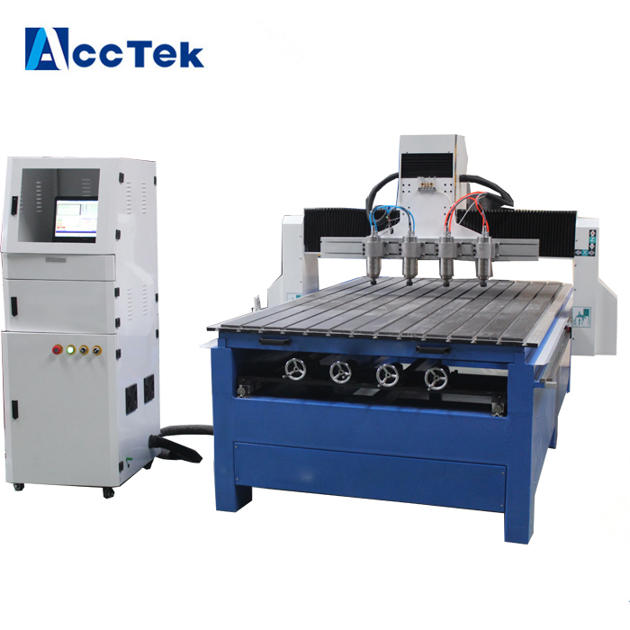 High precision multi head wood 3D cnc router , 4 axis cnc router , cnc carving machine w ...