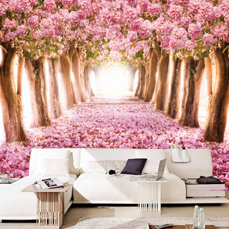 beibehang Custom Photo Wallpaper 3D Romantic Cherry Blossoms Large Mural Pink Floral  For Girls Bedroom Walls Papel De Parede