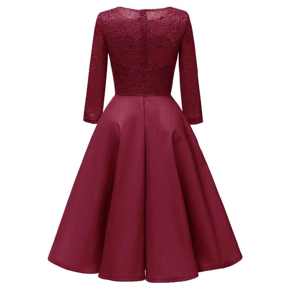 3b0cab018b6b ... Sisjuly Women Fall Spring Winter Evening Party Work Satin Hollow Out  Floral Lace Dress Burgundy Blue ...