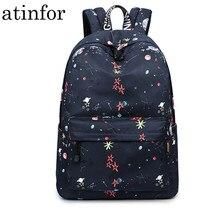 Fashion Waterproof Fabric Women Backpacks Black Large Capacity Starry Graffiti Pattern Lady Travelling Laptop Bag