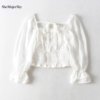 SheMujerSky Women Sexy Off Shoulder Chiffon Blouse Elastic Bandage Short Tops White Shirt 2019 koszula 1