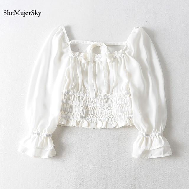 SheMujerSky Women Sexy Off Shoulder Chiffon Blouse Elastic Bandage Short Tops White Shirt 2019 koszula 1