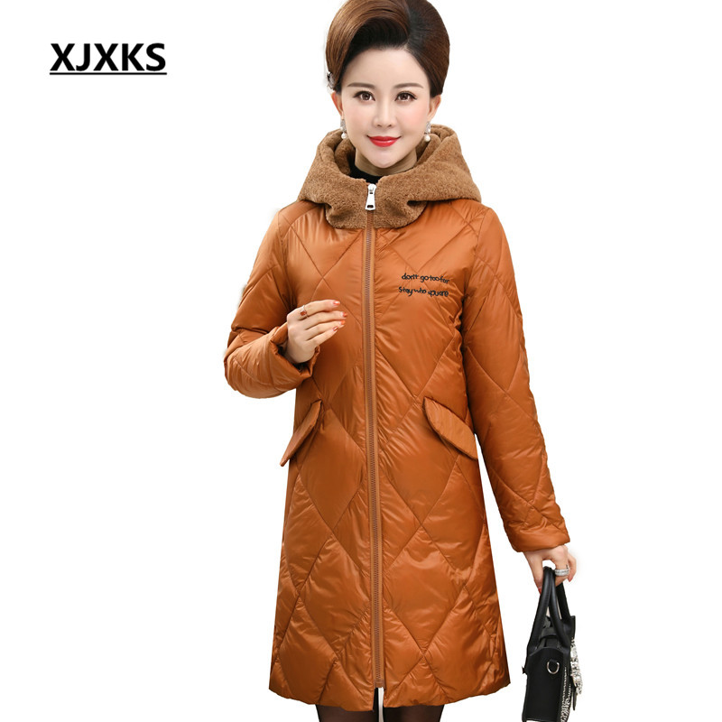 XJXKS Hooded Wide waisted Thick Women Parkas Coat Casual Streetwear Winter 2018 High Quality Women s